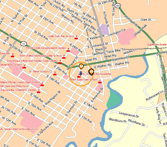 map of protected sites around offender address